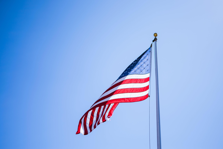 αμερικάνικη σημαία, Αμερική, γαλάζιος ουρανός