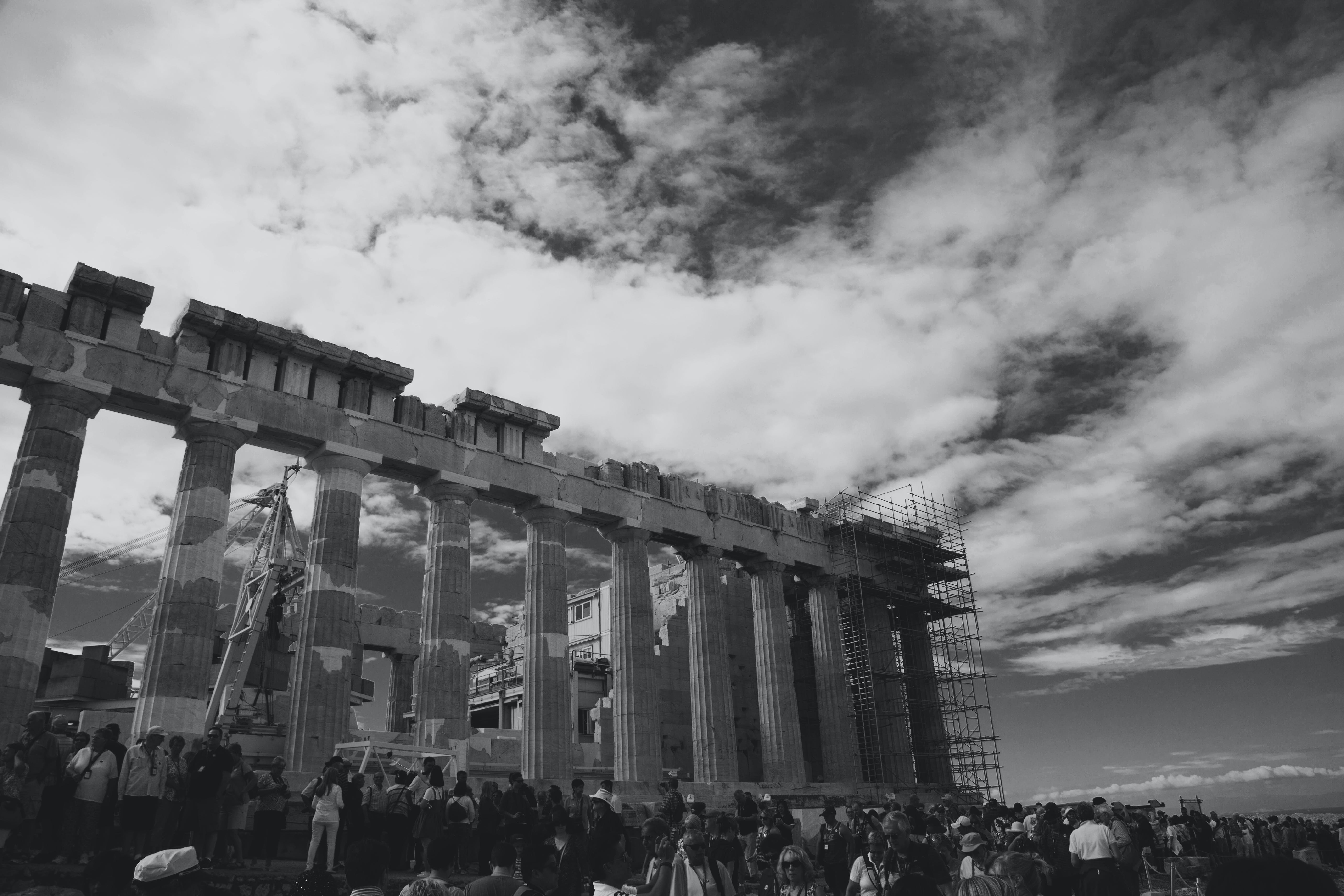 architecture, athens, black and white