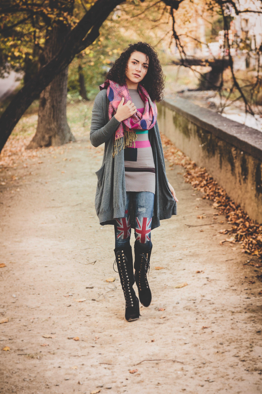 Woman Wearing Gray Cardigan P