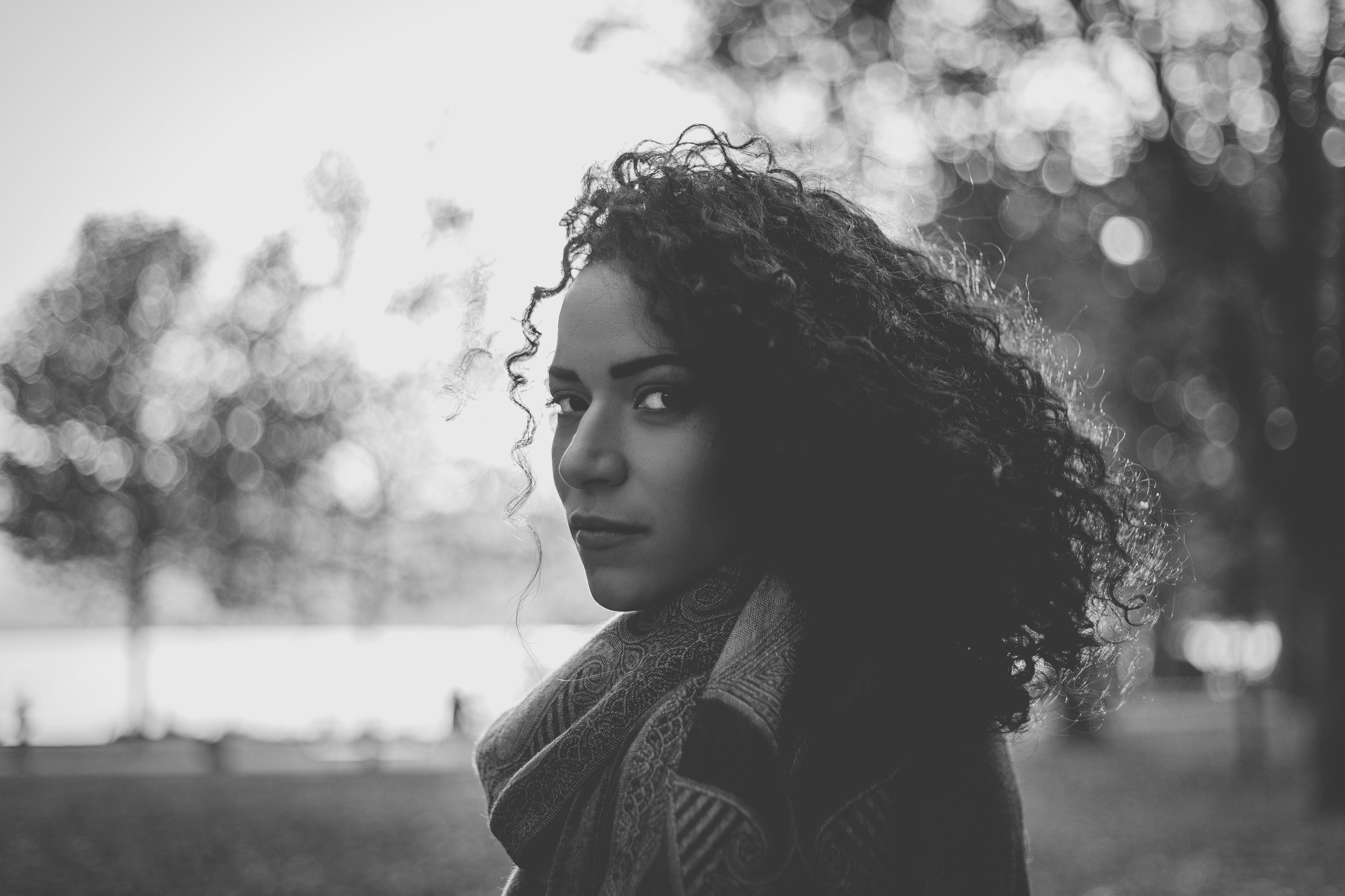 Woman Wearing Scarf Grayscale Photo