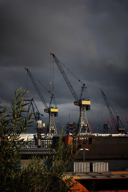 Free stock photo of clouds, crane, dangerous