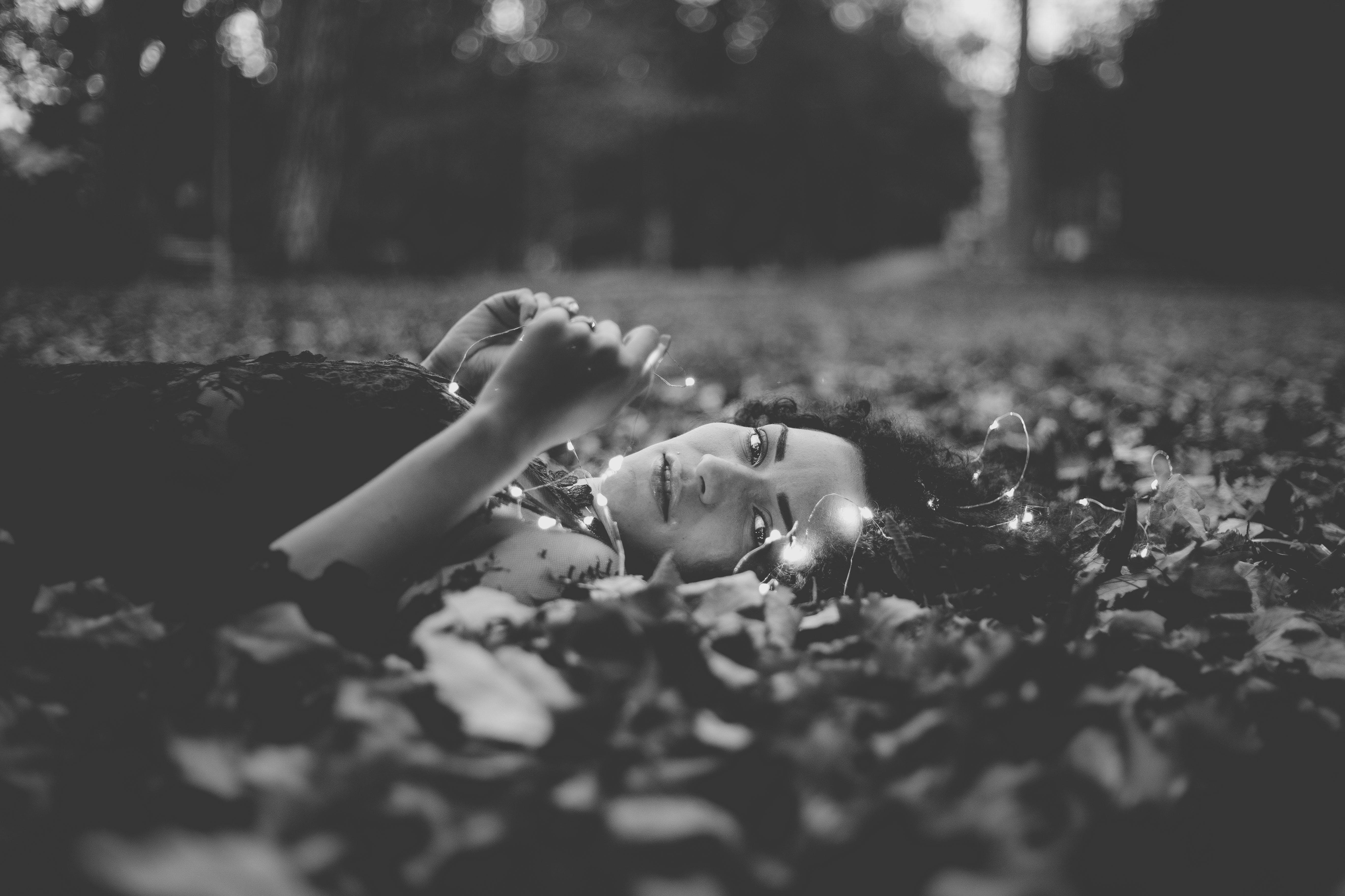 Woman on Leaves