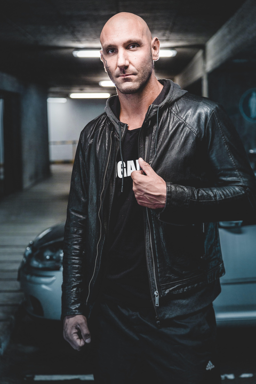 Man Wears Black Leather Zip-up Jacket