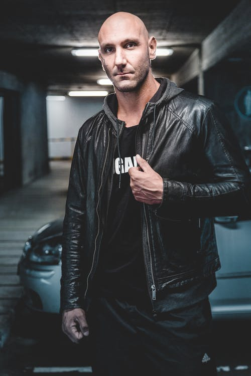 Man Wears Black Leather Zip-up Jacket