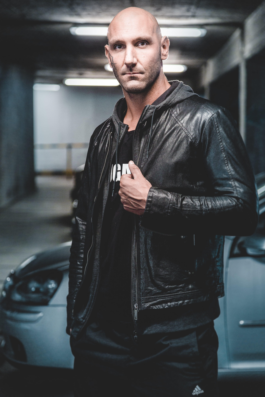 Man Wearing Black Leather Zip-up Jacket