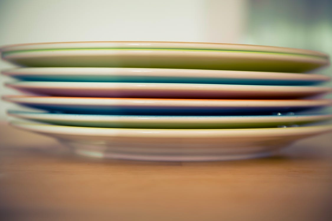 Free stock photo of depth of field, plates, stack