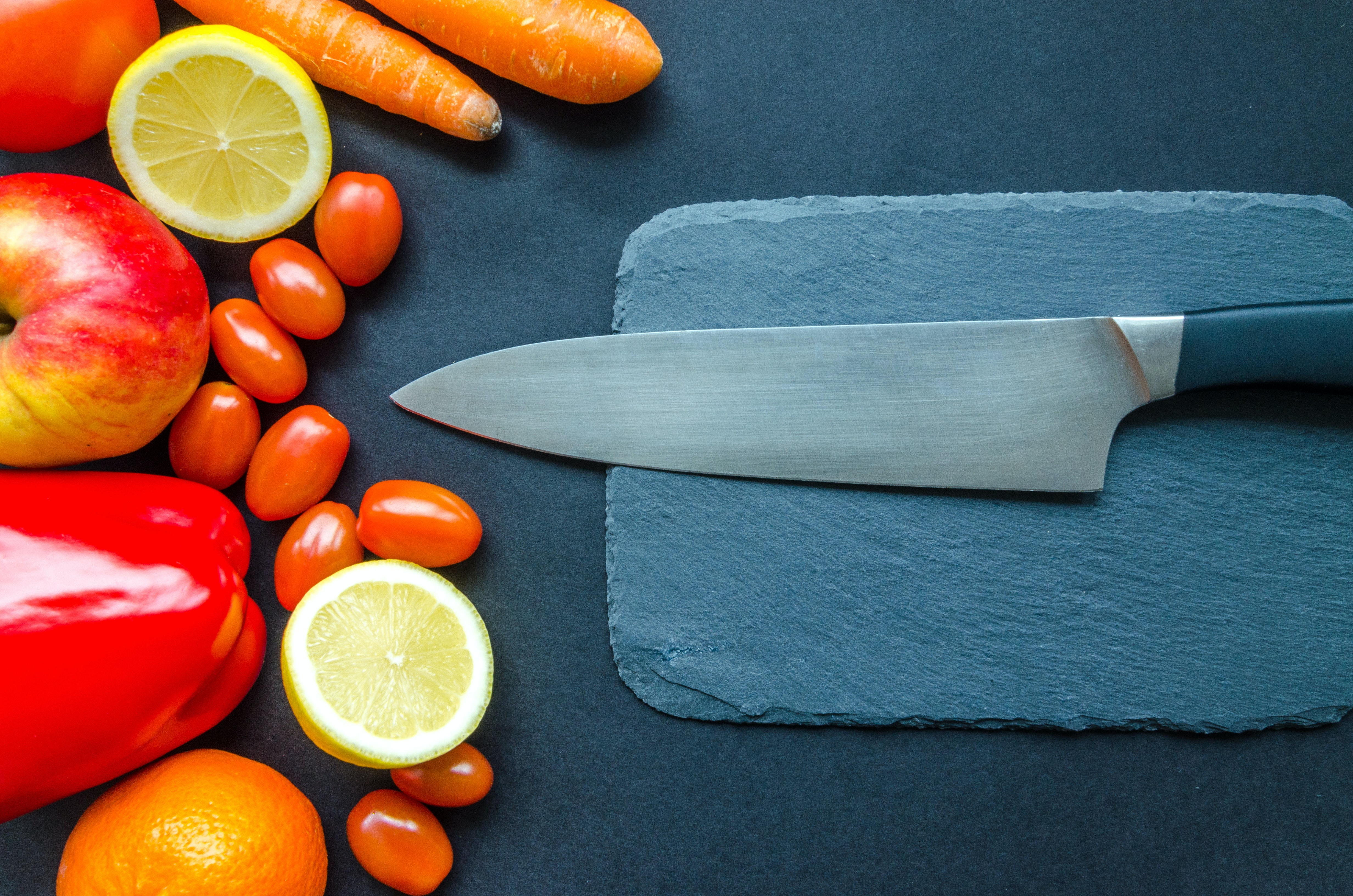 Black Kitchen Knife With Fruits and Vegetable on Table · Free Stock ...