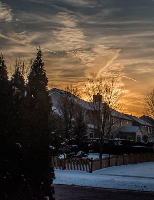 Fotos de stock gratuitas de atardecer de invierno, paisaje de invierno, puesta de sol