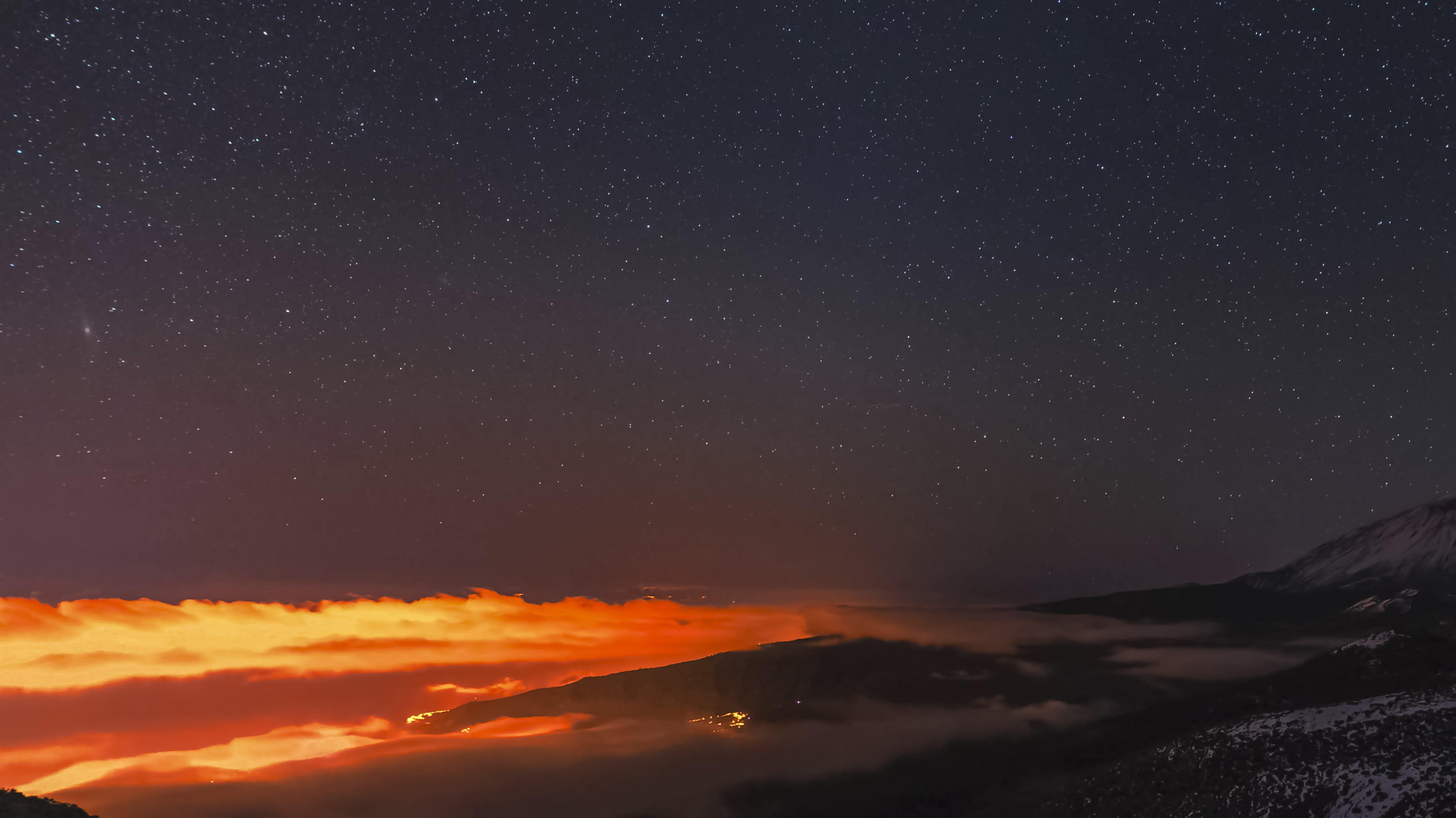 Kostenloses Stock Foto zu berge, eis, lichter der stadt, nacht