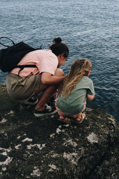 Back View of Two People Near the Body of Water