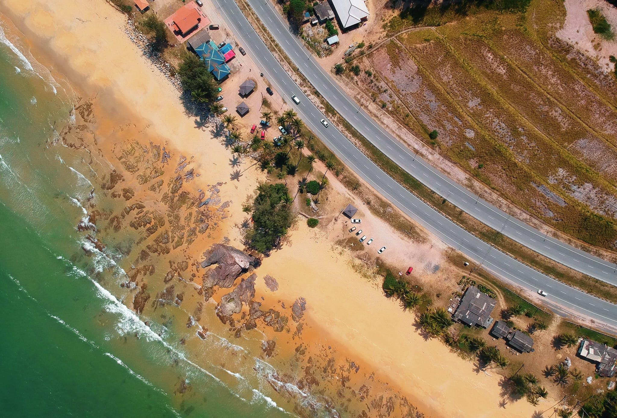 Areal Photography of Seashore Beside Sky Way