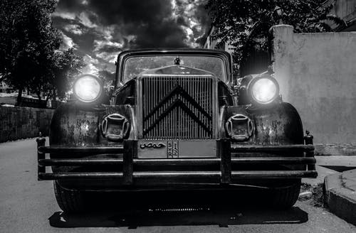 Monochrome Photography of Classic Citroen Car
