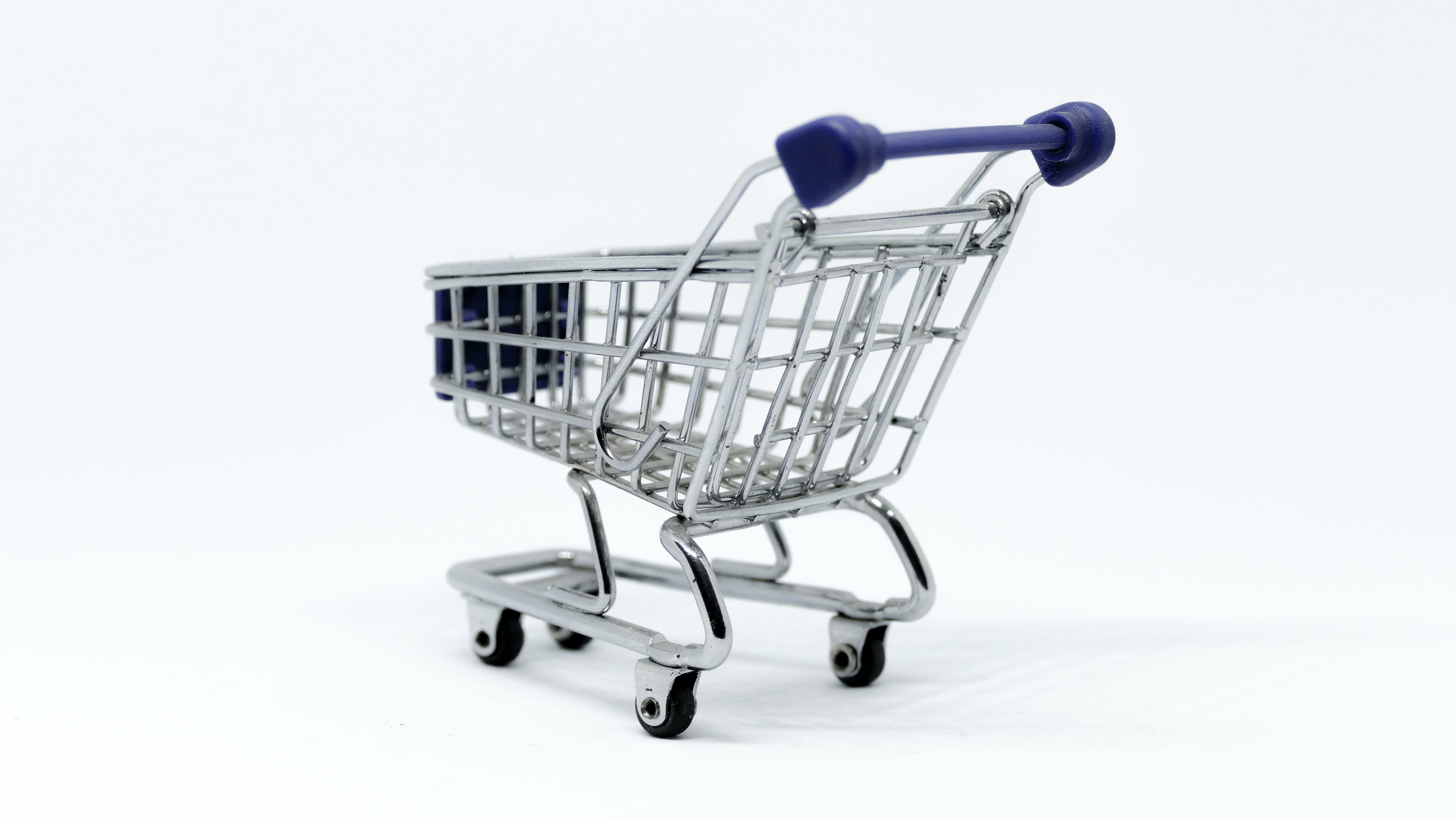 Gray and Blue Stainless Steel Shopping Cart