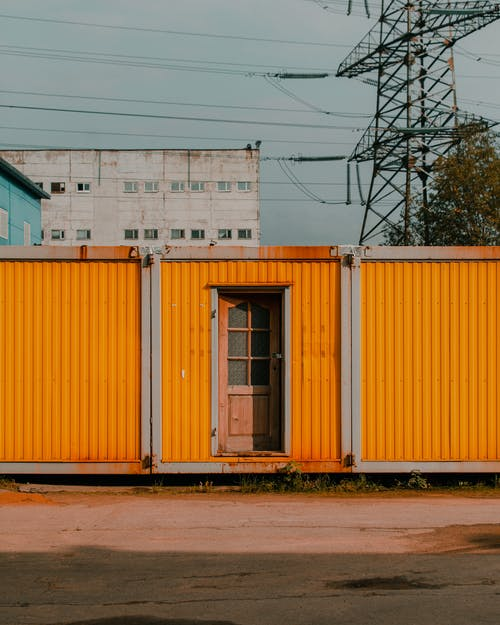 Yellow and White Steel Garage