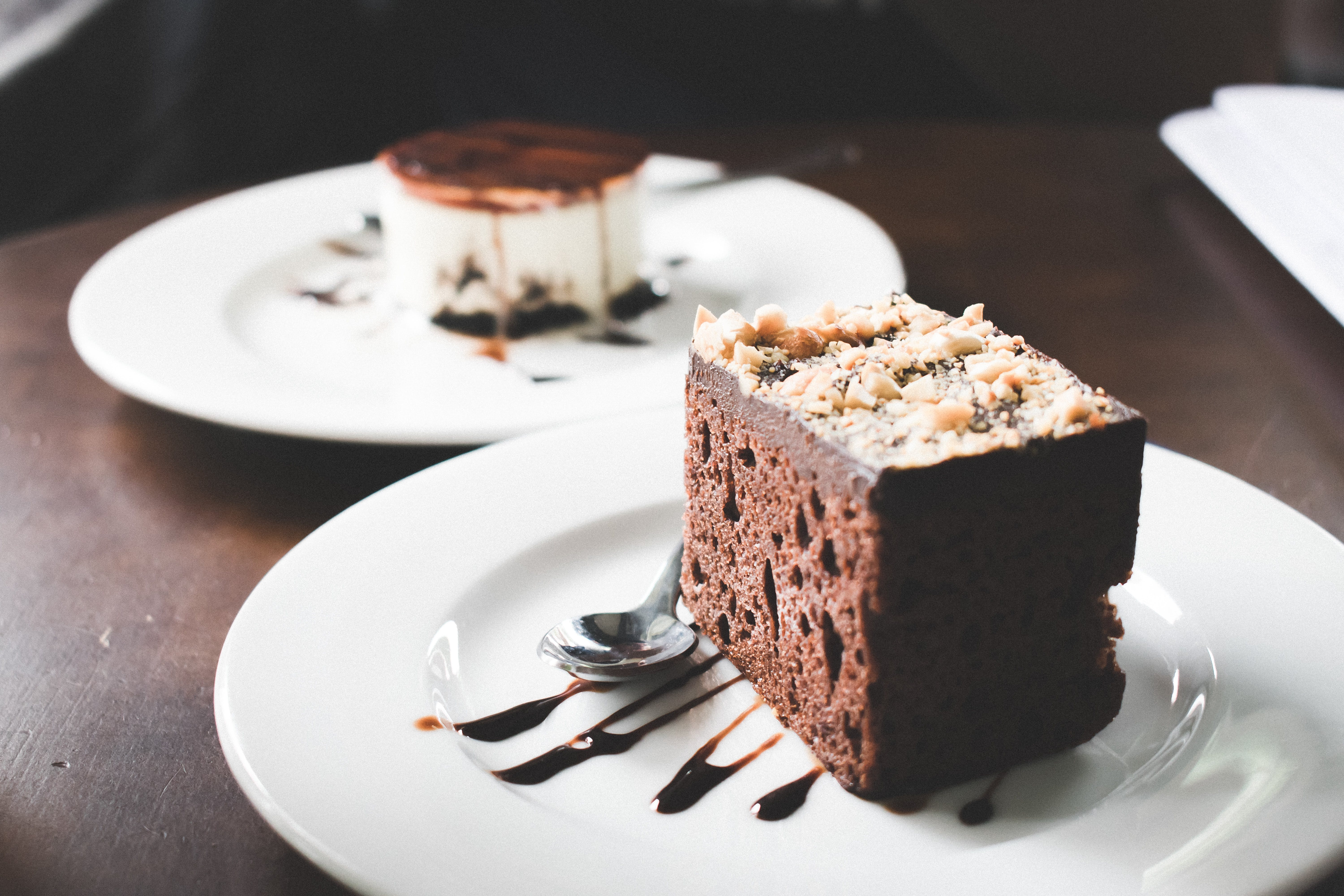 Photography of Chocolate Brownies on White Saucer