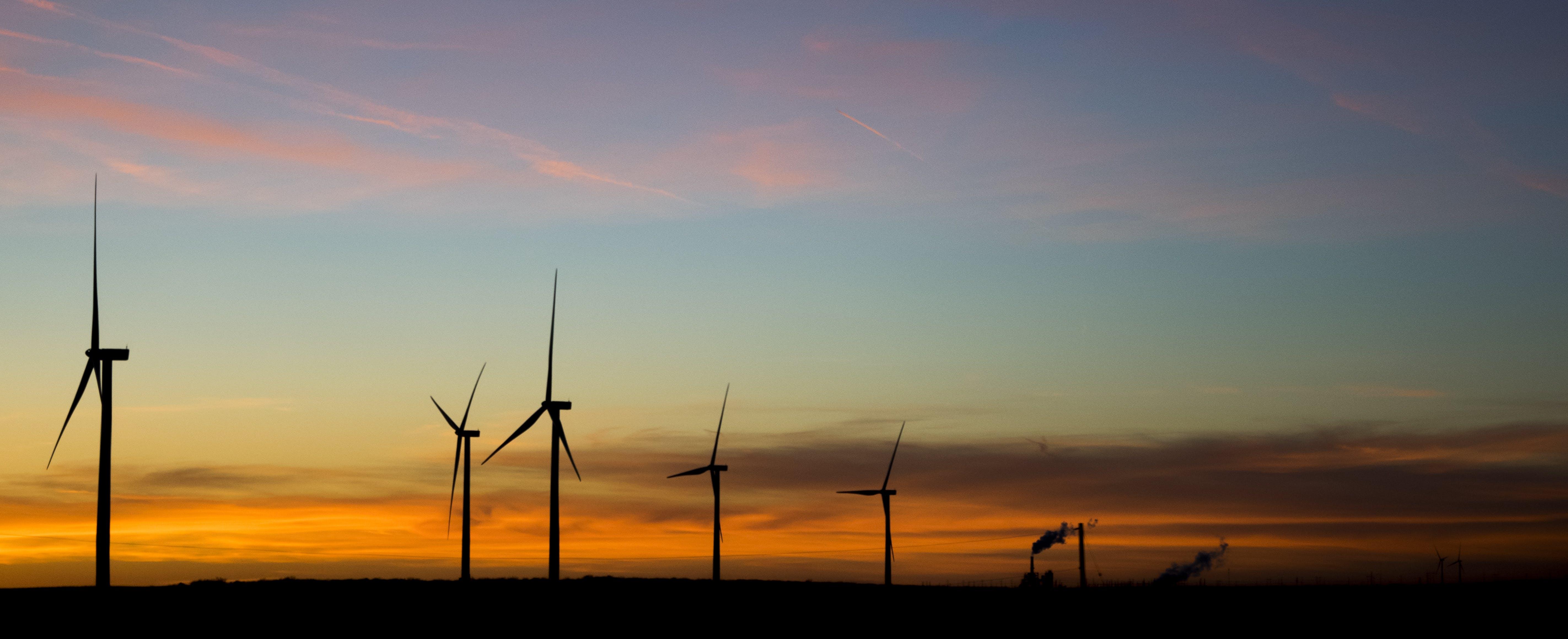 Free stock photo of sky, sunset, wind turbines