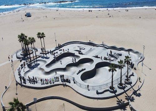 An Aerial View of a Skatepark on a Beach