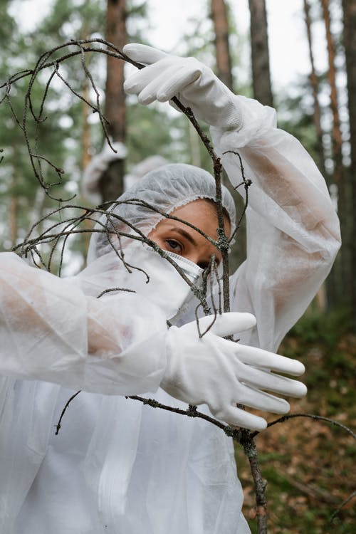 A Woman Wearing Personal Protective Equipment Holding a Tree Branch