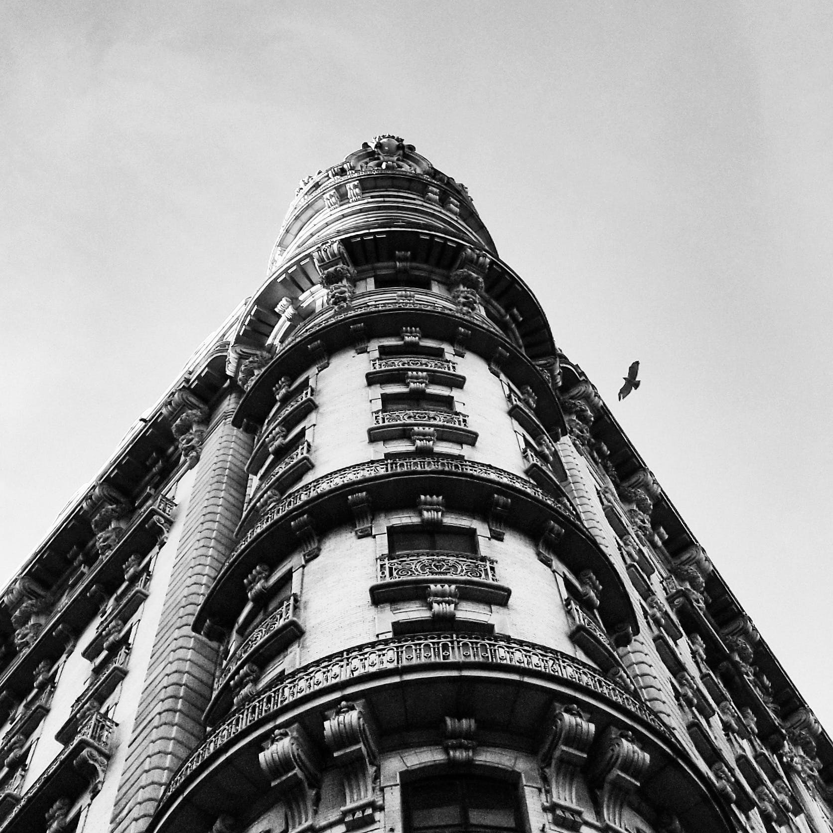 Grayscaled Photo of Building