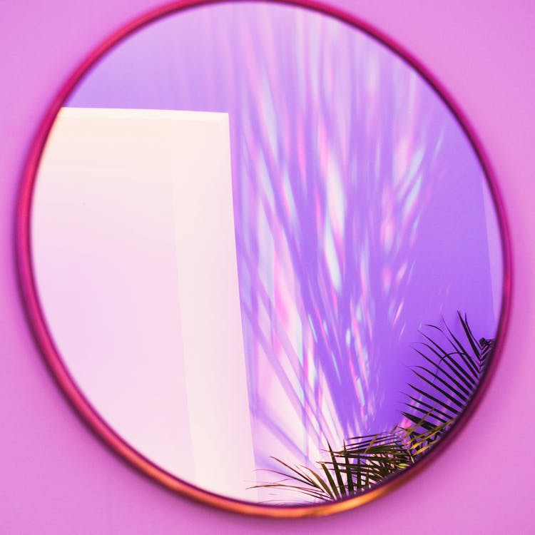 Oval Brown Framed Mirror
