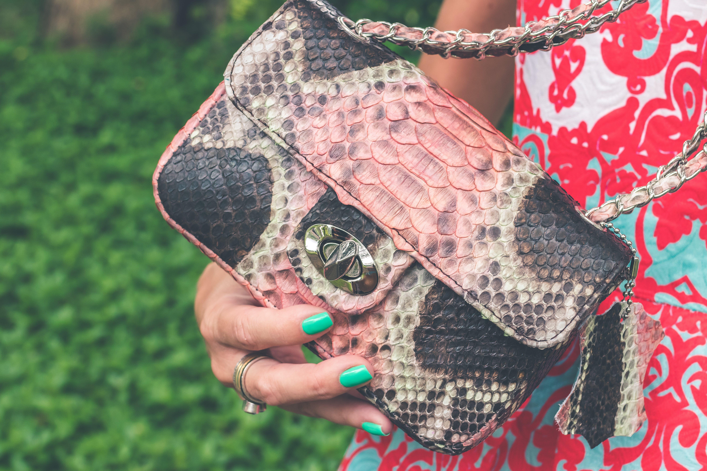 Women Holding Pink and Black Snakeskin Sling Bag