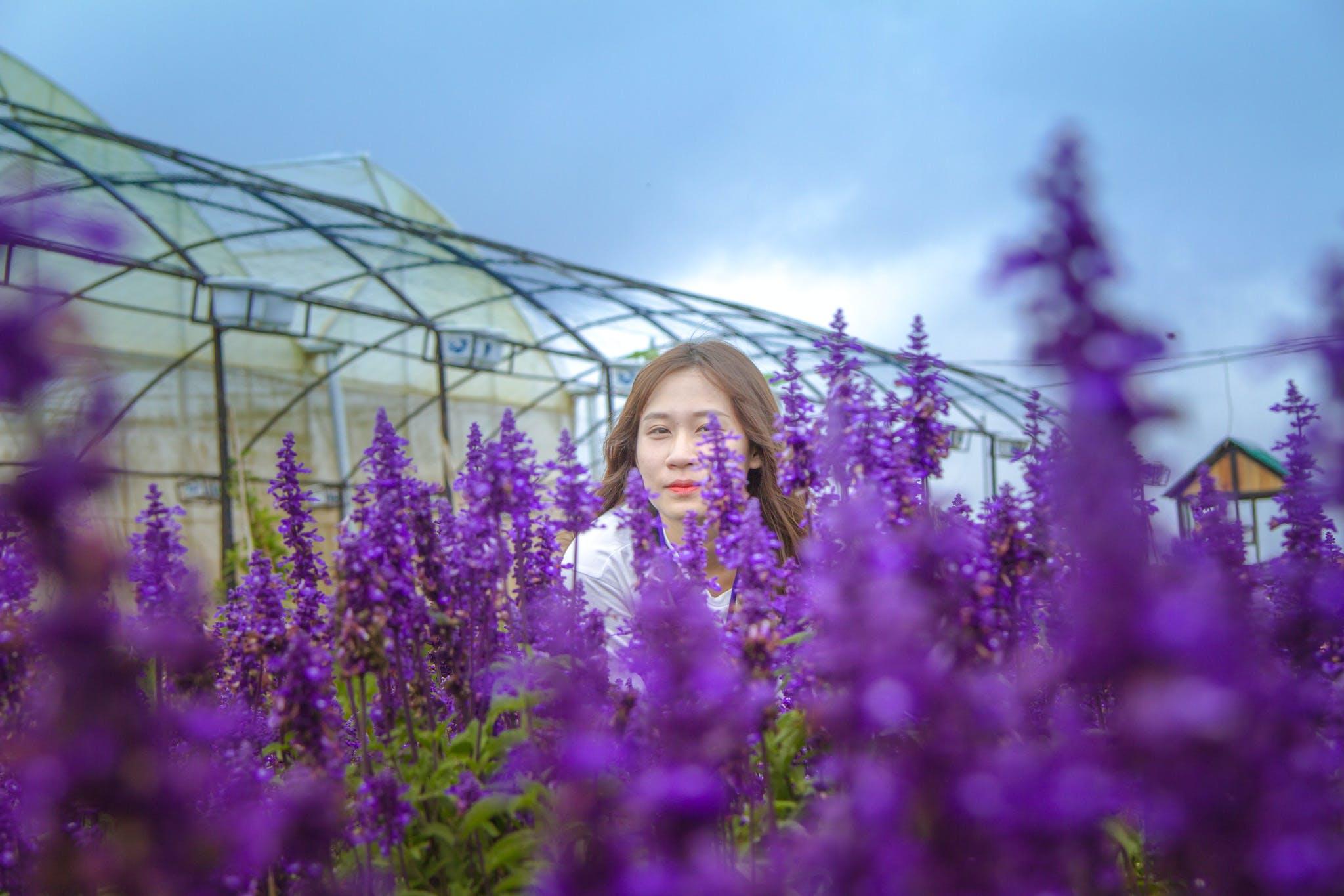 Woman Standing Behind Purple Petaled Flowers