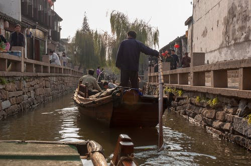 Free stock photo of boat, canal, china, rowing