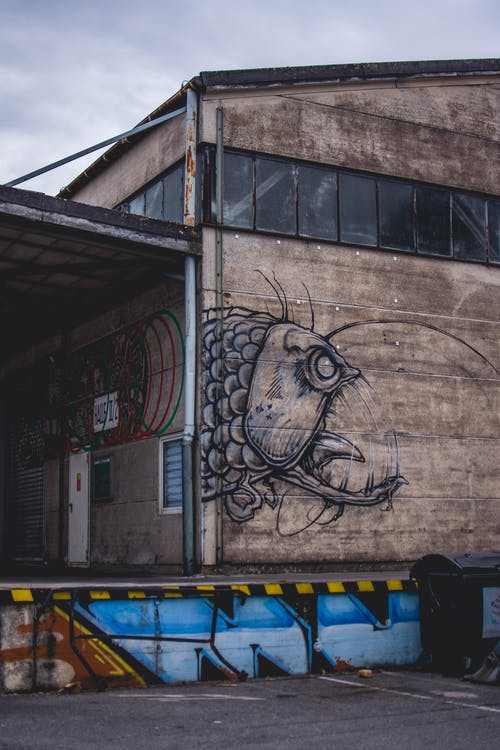 Closed Brown Building With Monster Fish Graffiti Photography