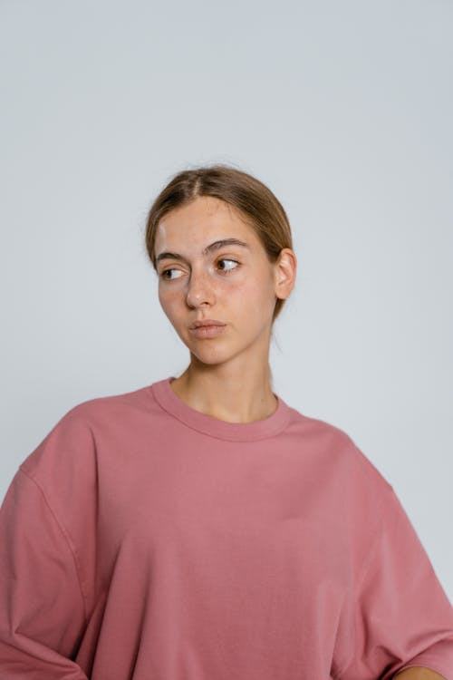 Woman in Pink Crew Neck Shirt