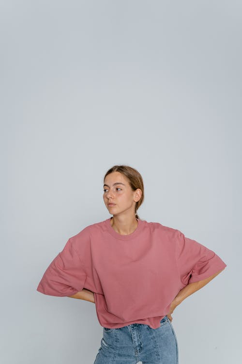 Woman in Pink Crew Neck T-shirt