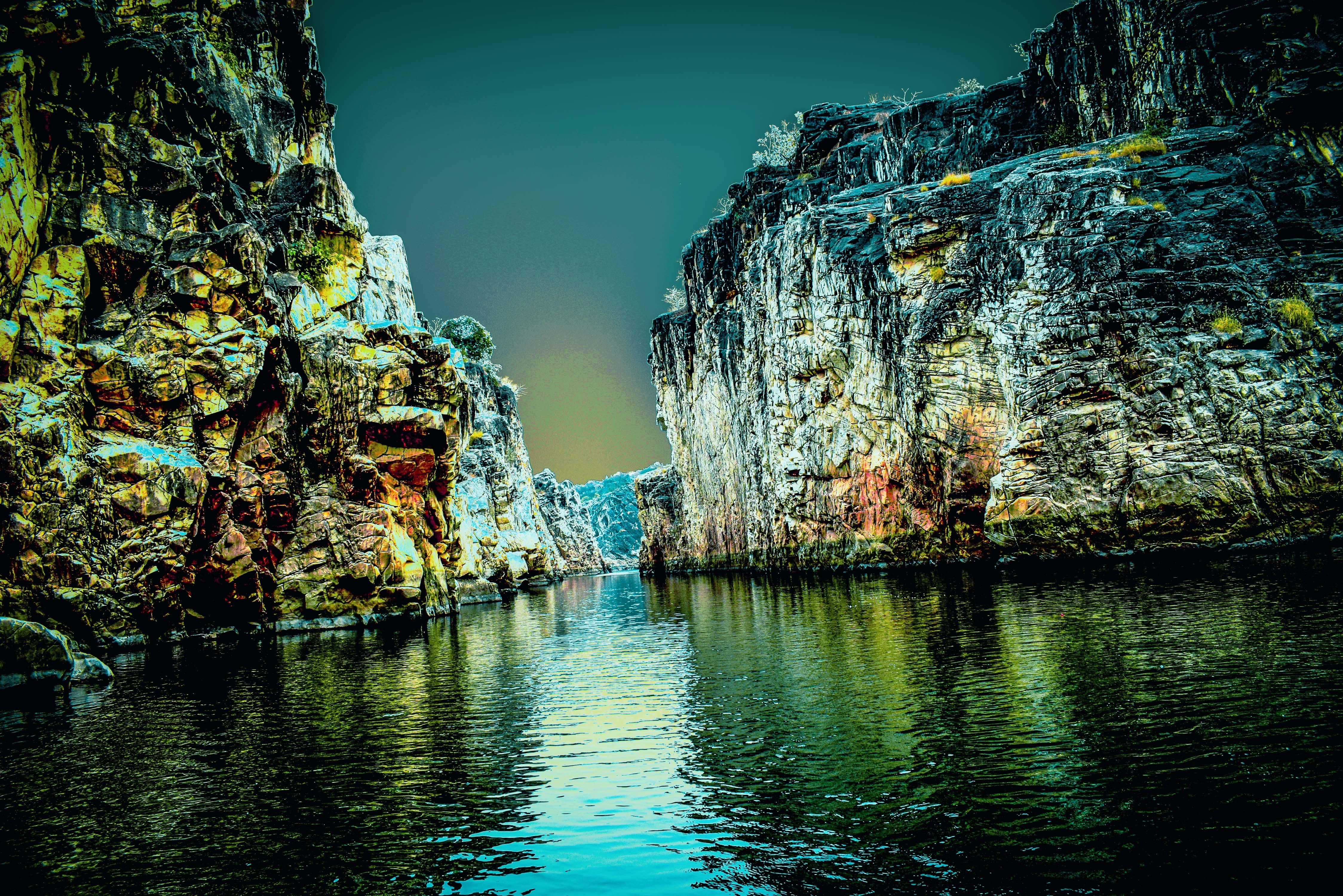 Δωρεάν στοκ φωτογραφιών με #marbelrocks #jabalpur #narmada #river #reflection