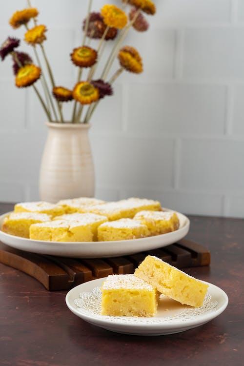 Yellow and White Dish on White Ceramic Plate