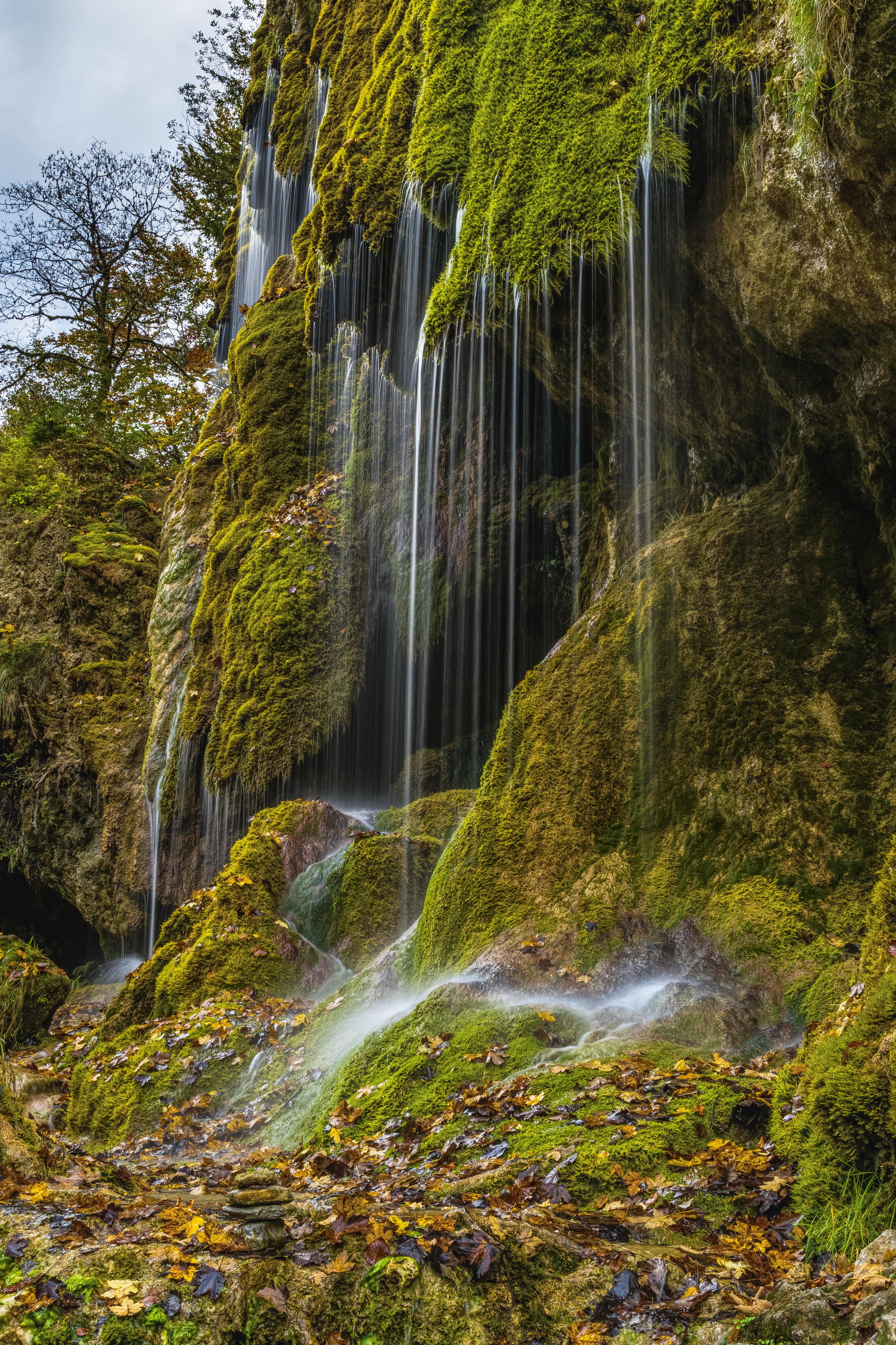 Waterfalls on Mountain Cliff