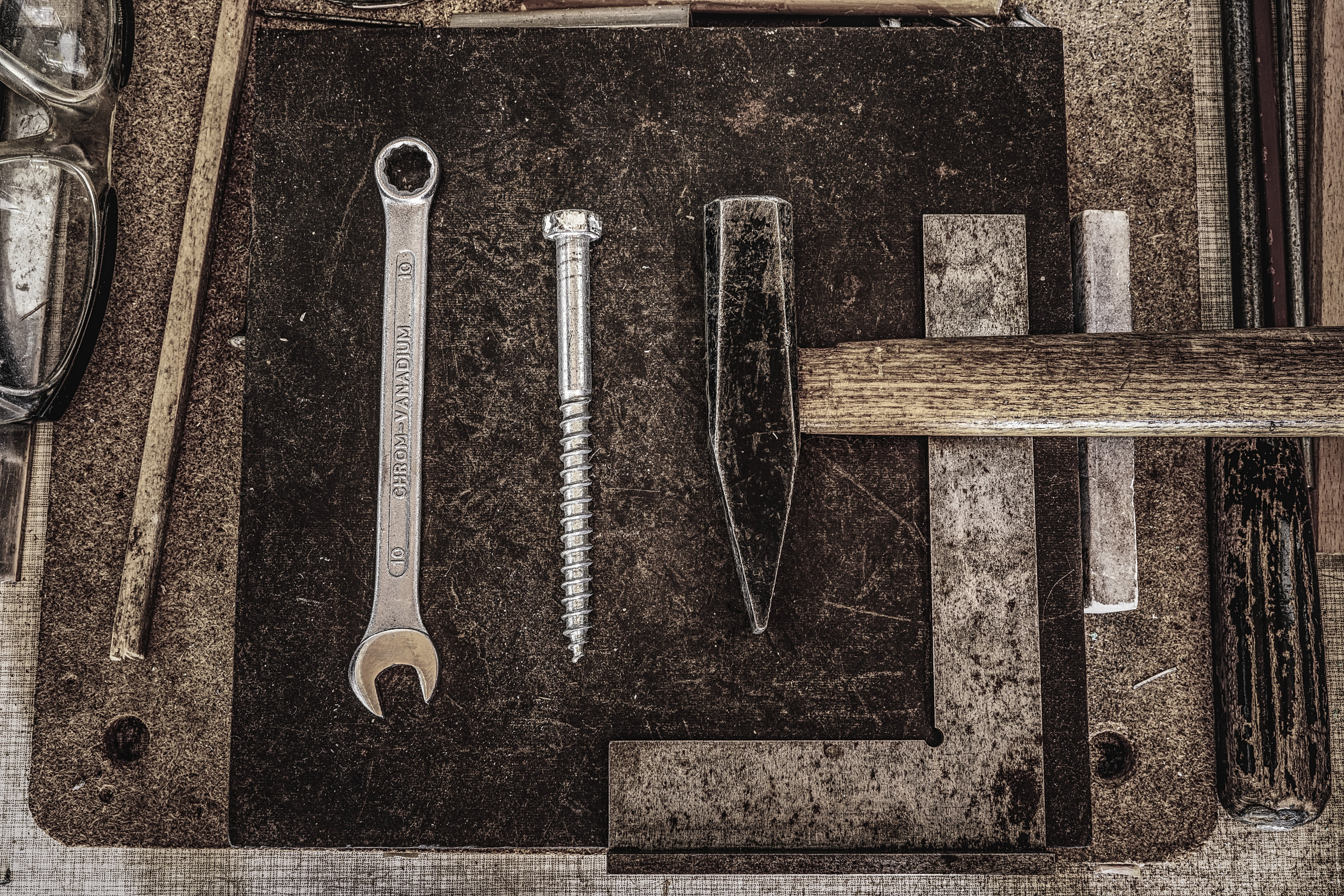 Combination Wrench, Screw Bolt, and Pointed-top Hammer