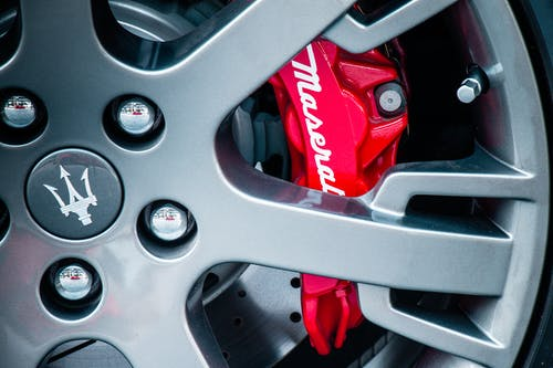 Gray and Red Car Wheel
