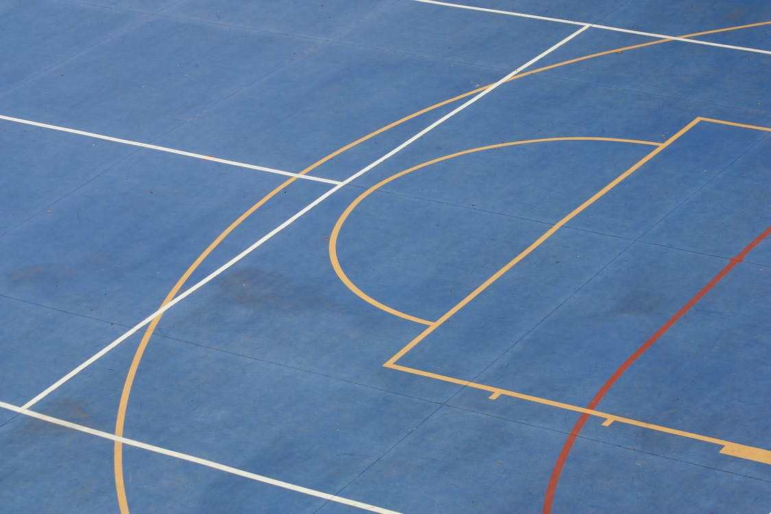 White and Blue Basketball Court