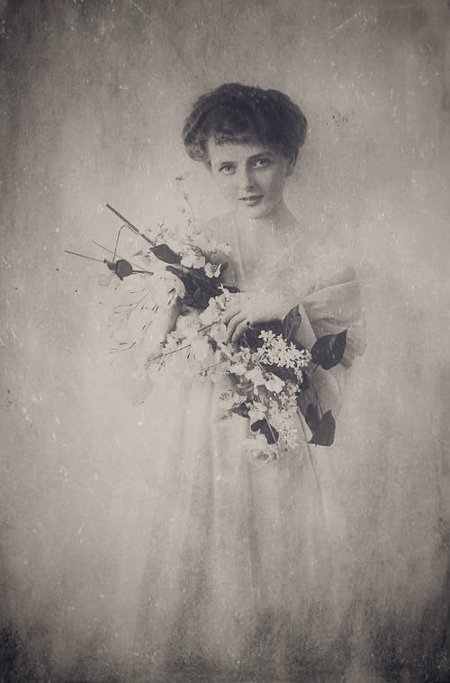 Antique Photo of a Woman in White Dress