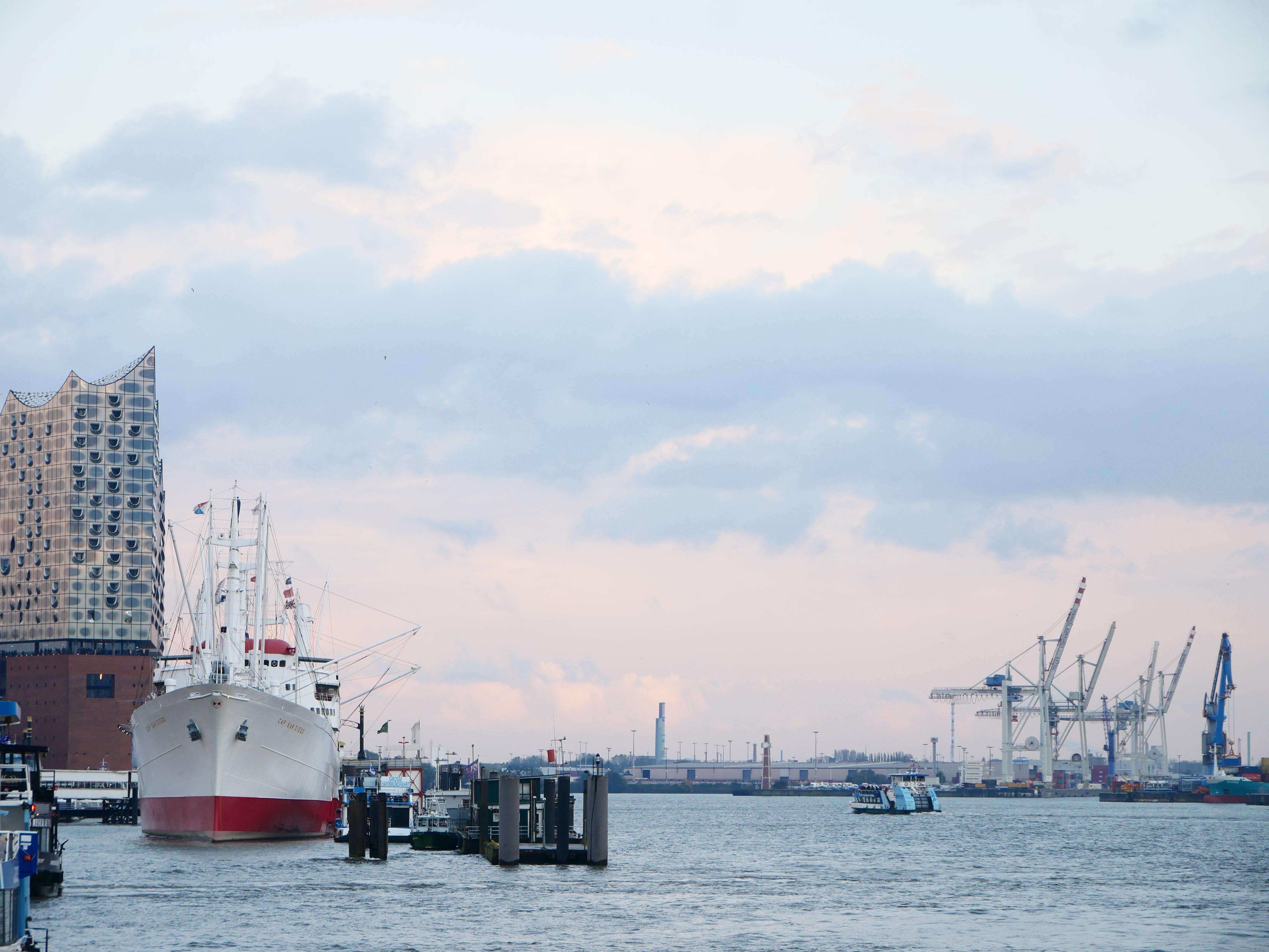 Foto stok gratis crane pelabuhan, Hamburg, kapal