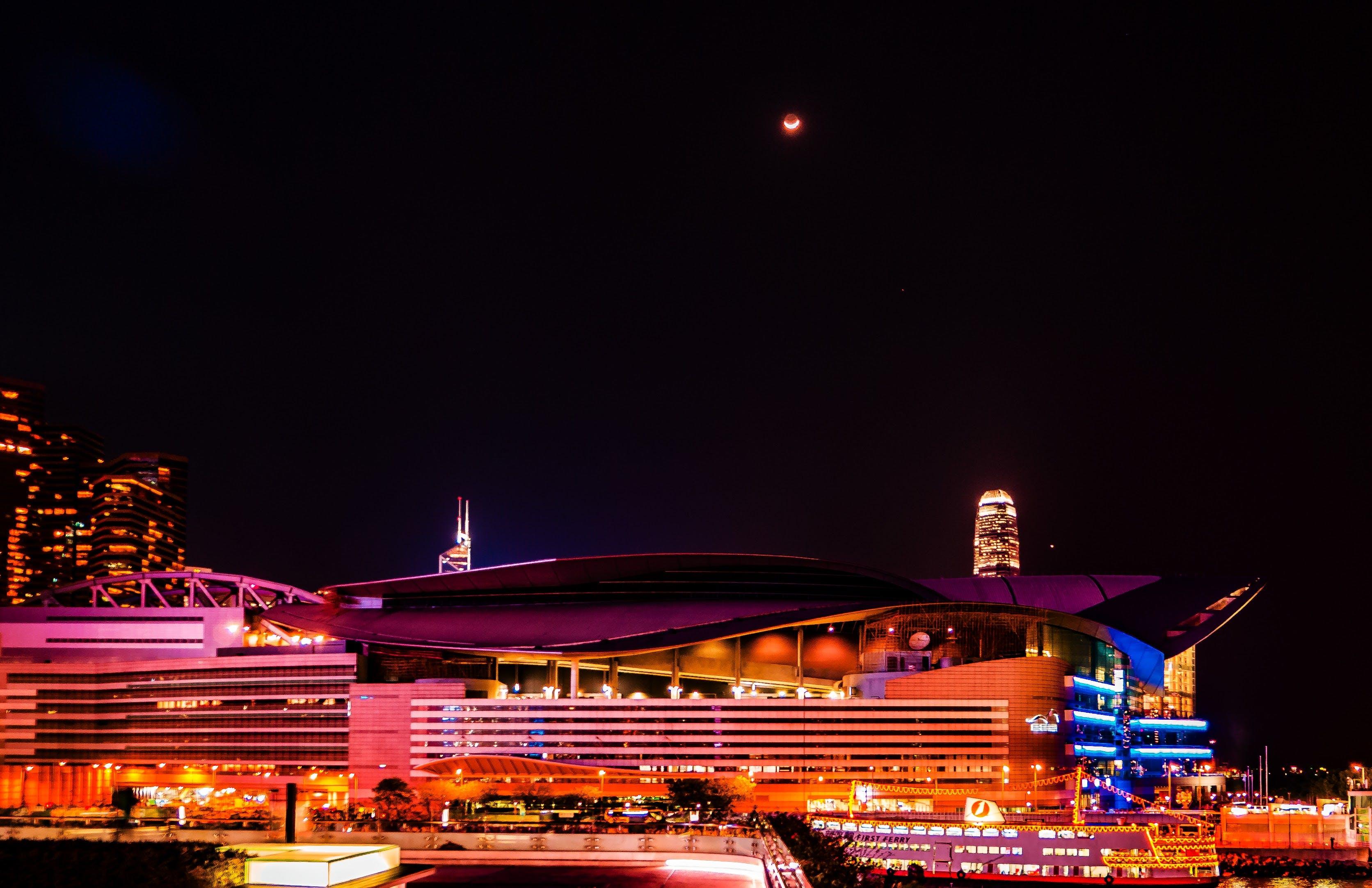 Foto stok gratis Hongkong, lampu kota, lampu malam, langit malam