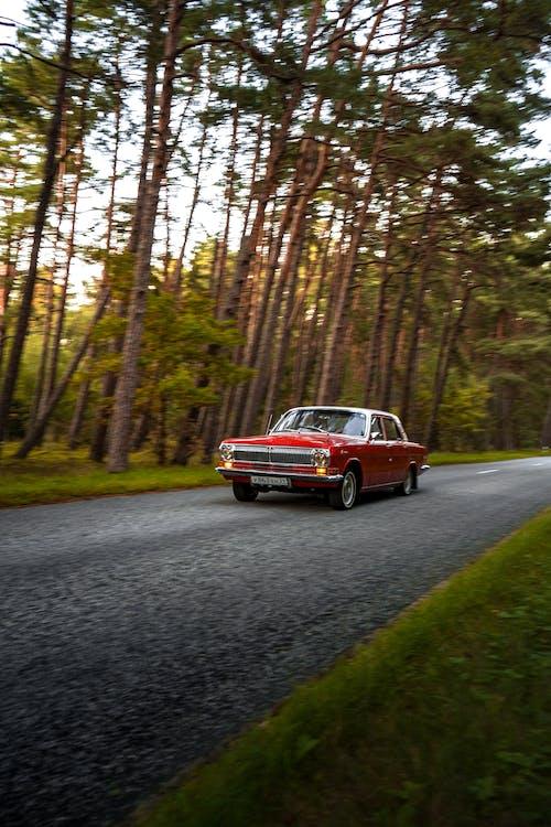 道路を旅するヴィンテージの赤い車