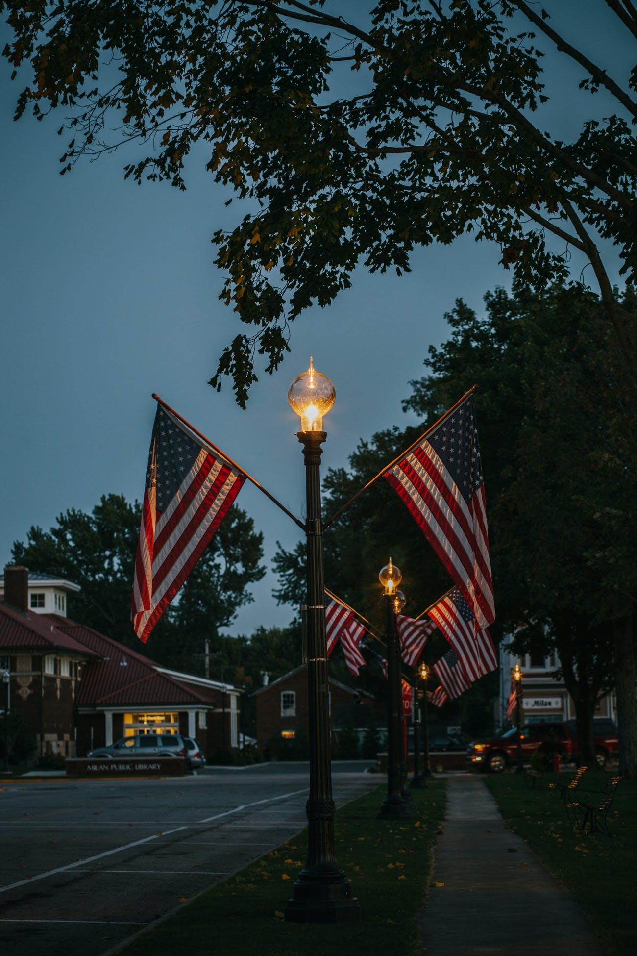 Free stock photo of flag, outdoors, street, tree