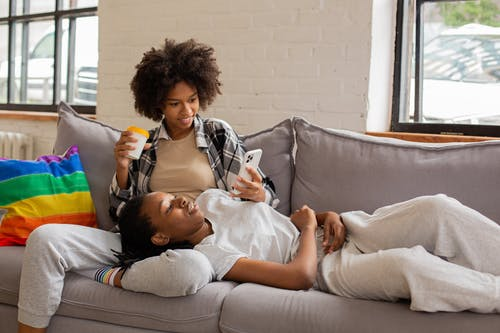 Women chilling on the Couch