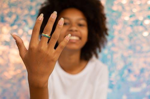 Woman wearing Pride Ring
