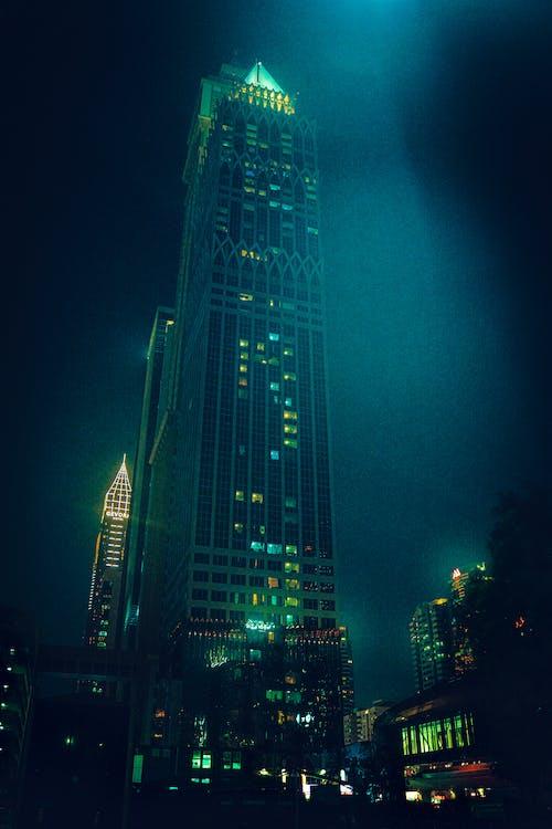 Free stock photo of dark blue, dark night, high rise building
