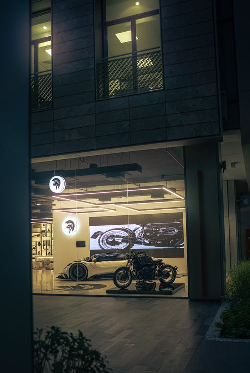Free stock photo of motor bike, shops, showroom