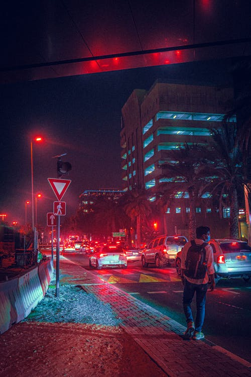 Free stock photo of night scene, night traffic, red light
