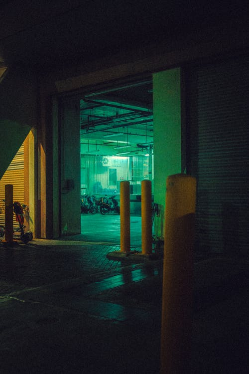 Free stock photo of delivery dock, night light, parking
