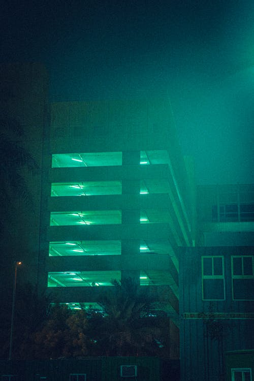 Free stock photo of building, moonlight, night light
