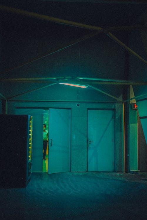 Free stock photo of back door, emergency exit, night light