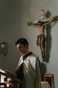 photo of a priest reading